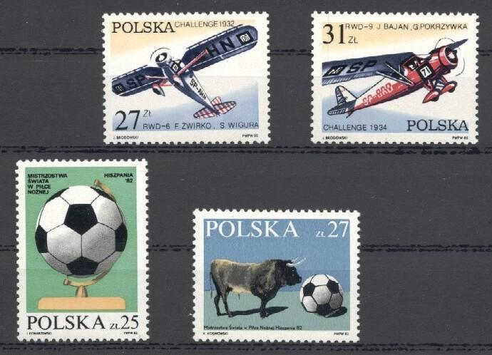 Stamps with Soccer, Aircraft, Bull from Poland (image for product #035320)