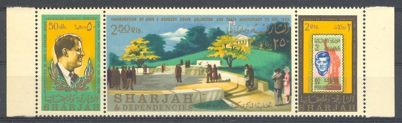 Stamps with Stamp on Stamp, Kennedy, Statue of Liberty from Sharjah (image for product #035857)