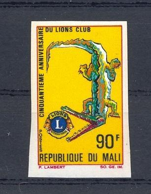 Stamps with Crocodile, Lions International from Mali (image for product #035871)