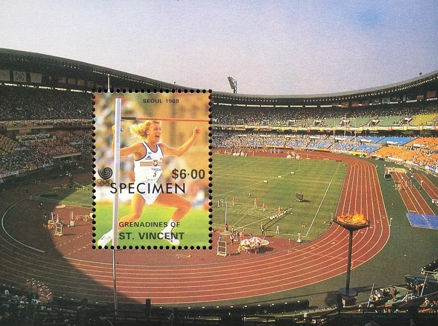 Stamps with High Jump, Olympic Games from St. Vincent (image for product #035874)