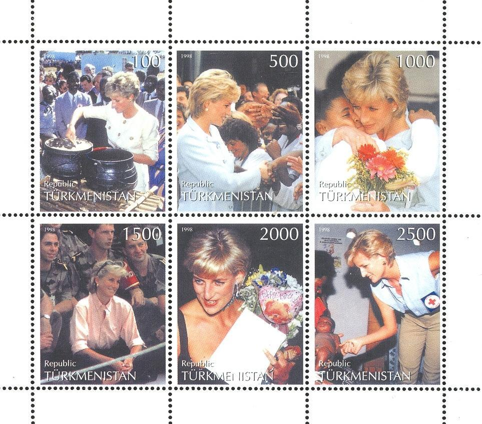 Stamps with Flowers, Red Cross, Diana from Turkmenistan (non official) (image for product #035886)