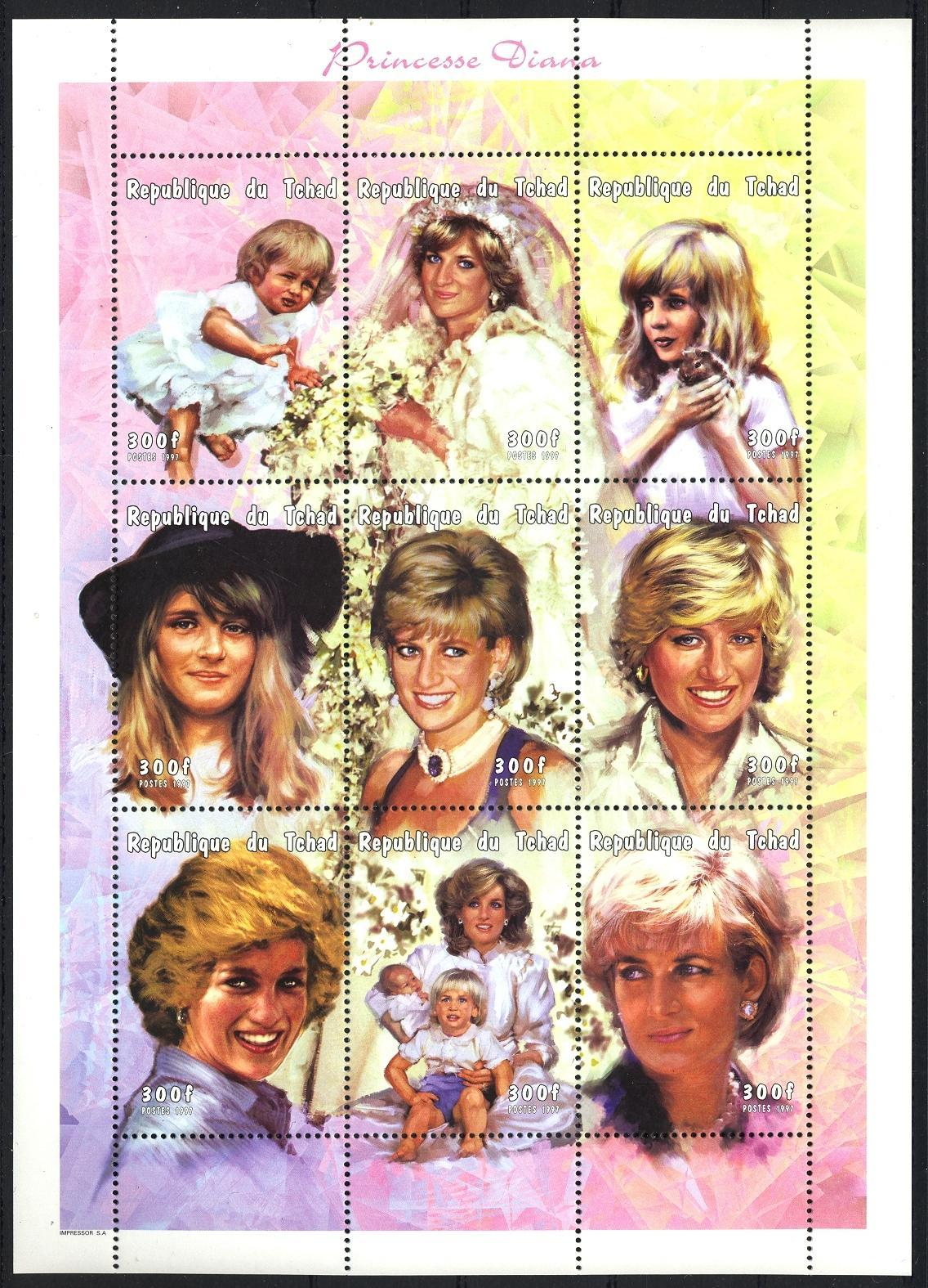 Stamps with Flowers, Diana from Chad (image for product #035903)