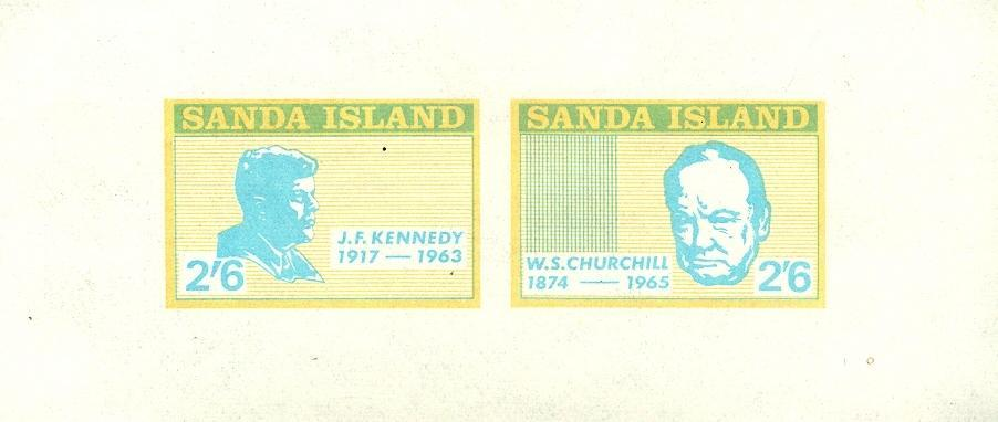 Stamps with Churchill, Kennedy from Sanda Island (non official) (image for product #035917)