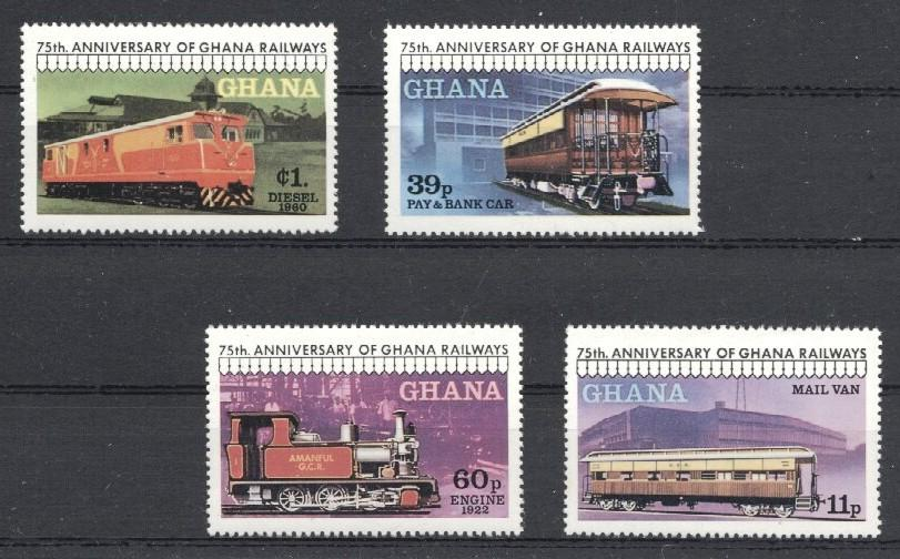 Stamps with Train / Railway from Ghana (image for product #036012)