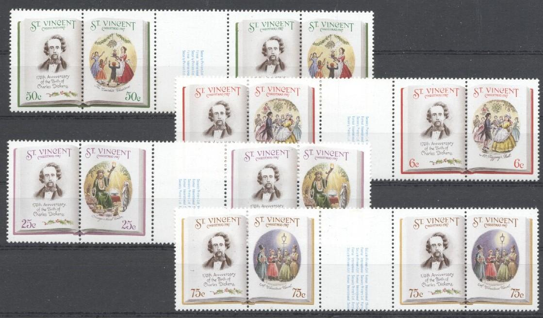 Stamps with Christmas, Dickens (Charles) from St. Vincent (image for product #036020)