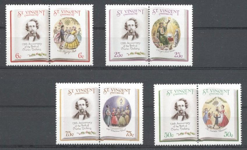 Stamps with Christmas, Dickens (Charles) from St. Vincent (image for product #036021)