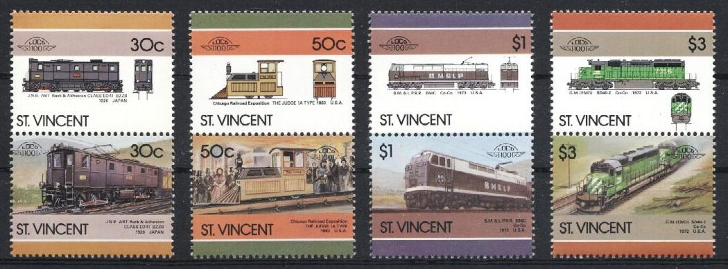 Stamps with Train / Railway from St. Vincent (image for product #036047)