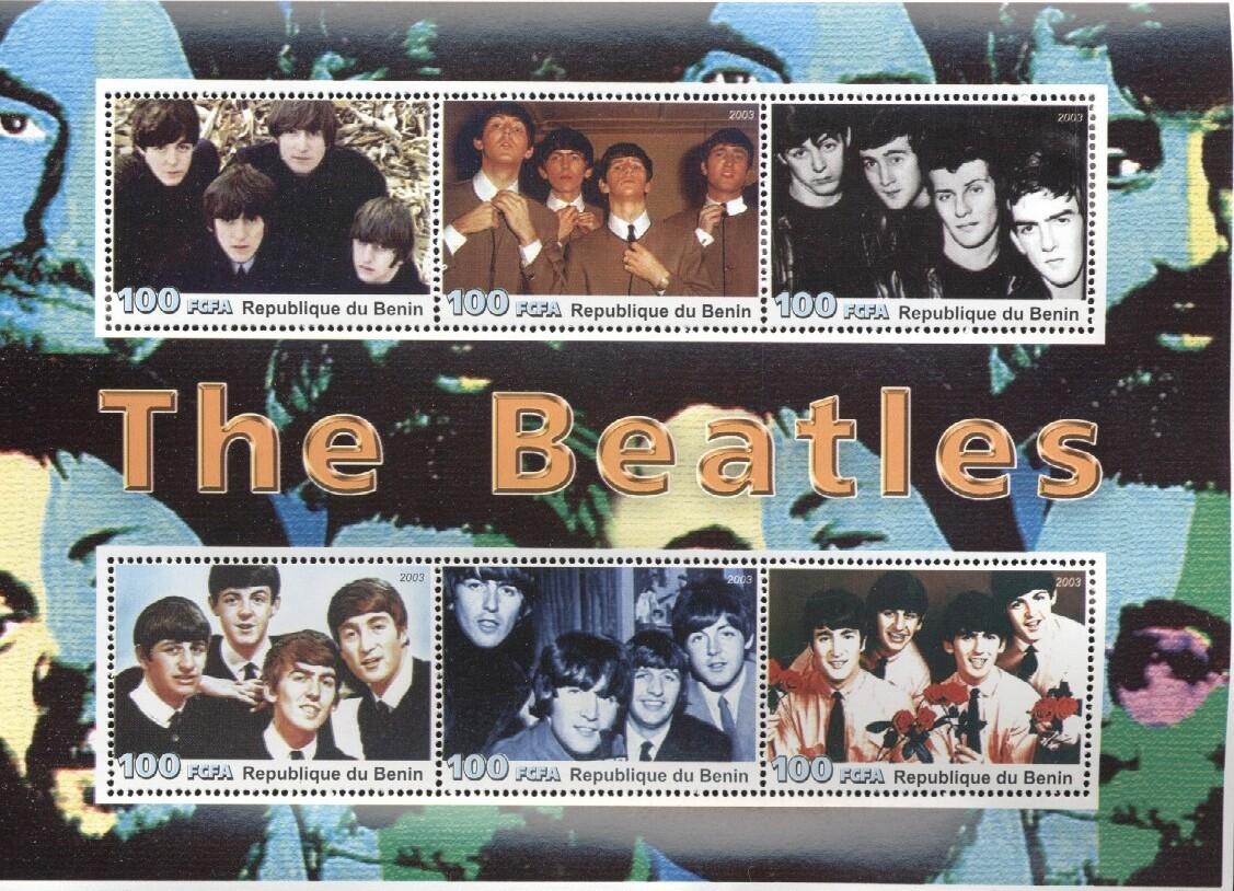 Stamps with Beatles, Popstars from Benin (non official) (image for product #036051)