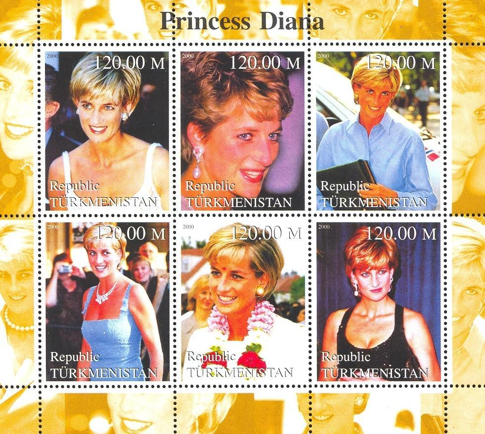 Stamps with Diana from Turkmenistan (non official) (image for product #036097)