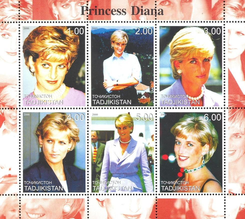 Stamps with Diana from Tajikistan (non official) (image for product #036098)