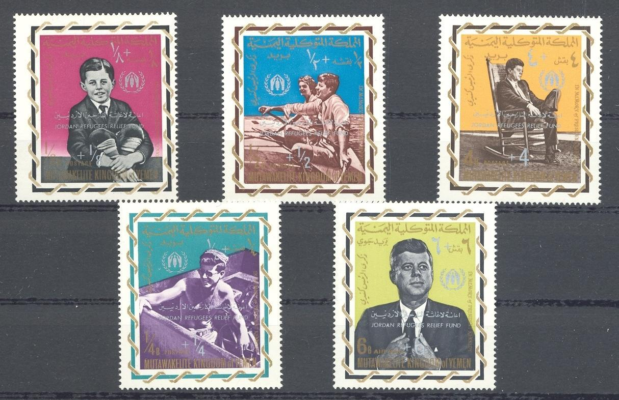 Stamps with Refugees, Kennedy, Sailing from Yemen Kingdom (image for product #036115)