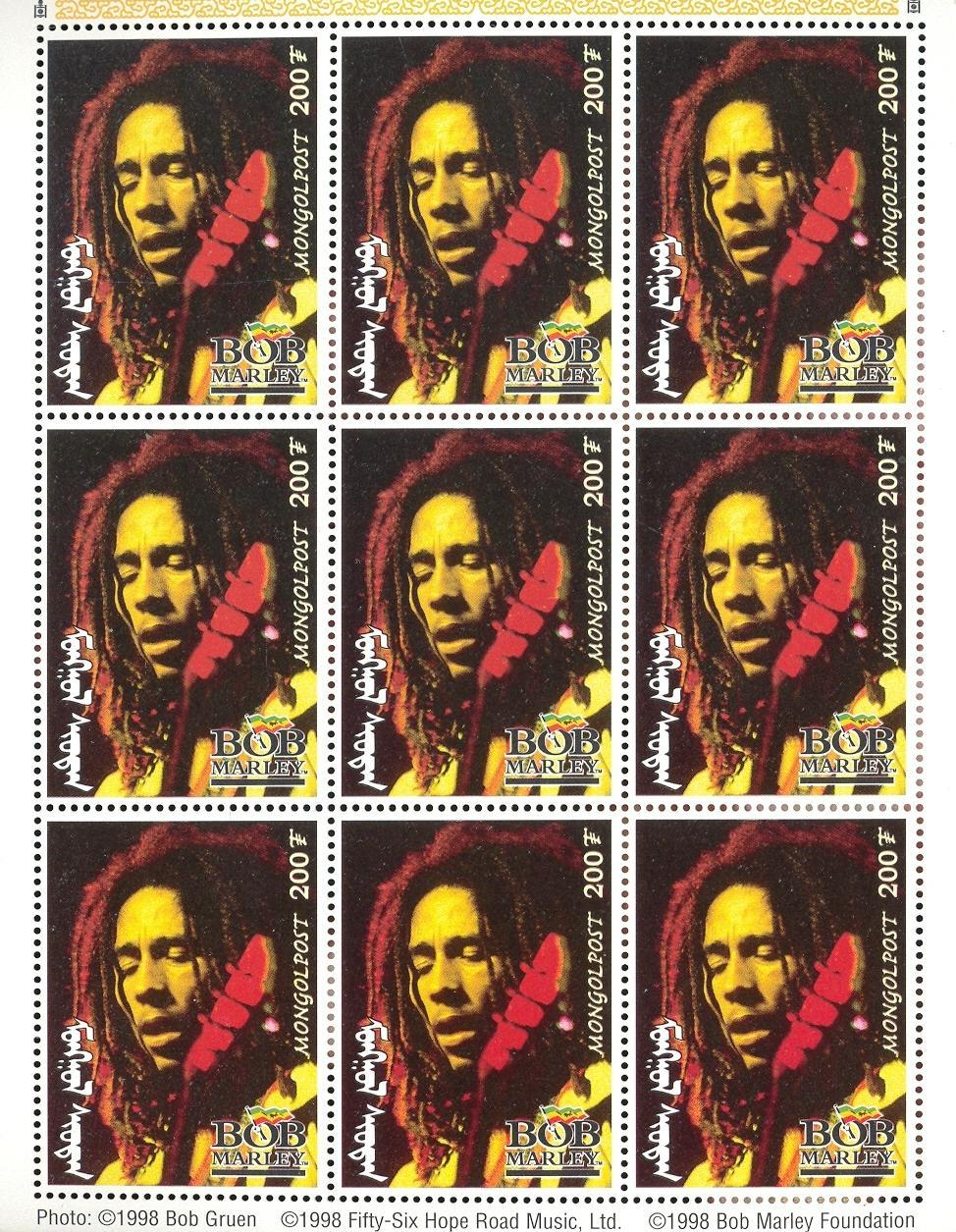 Stamps with Bob Marley, Popstars from Mongolia (image for product #036138)