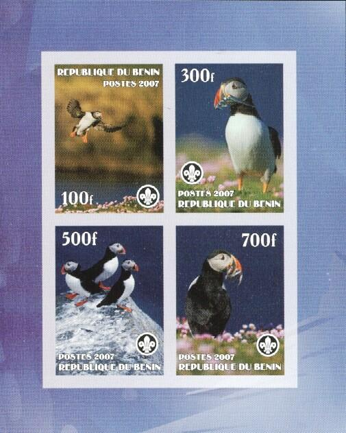 Stamps with Bird, Scouting, Puffin from Benin (non official) (image for product #036159)
