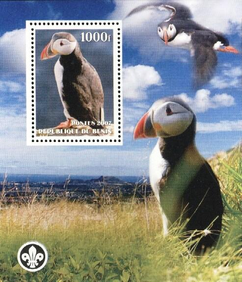 Stamps with Bird, Puffin, Scouting from Benin (non official) (image for product #036162)