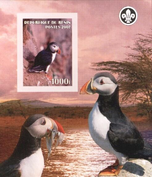 Stamps with Bird, Puffin, Scouting from Benin (non official) (image for product #036163)