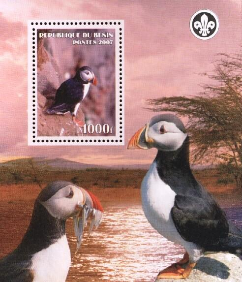 Stamps with Bird, Scouting, Puffin from Benin (non official) (image for product #036164)