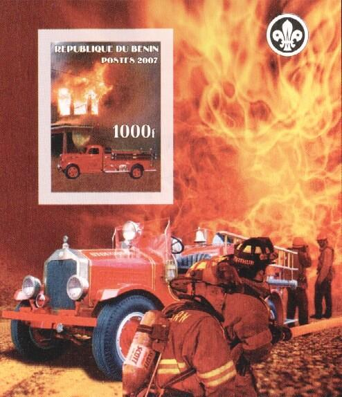 Stamps with Firefighters / engines, Scouting from Benin (non official) (image for product #036165)