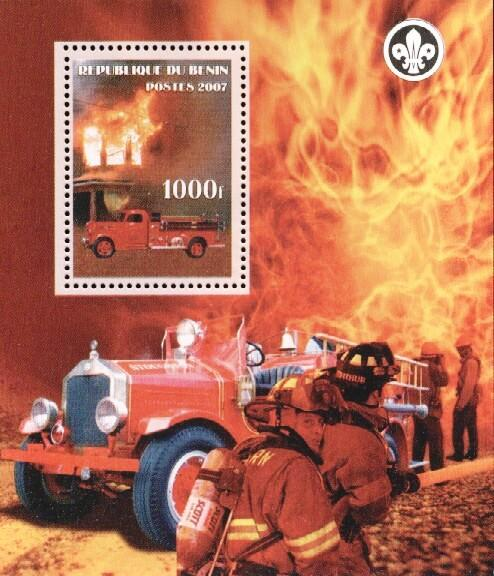 Stamps with Scouting, Firefighters / engines from Benin (non official) (image for product #036166)