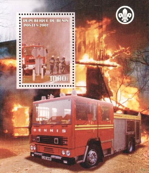 Stamps with Firefighters / engines, Scouting from Benin (non official) (image for product #036170)