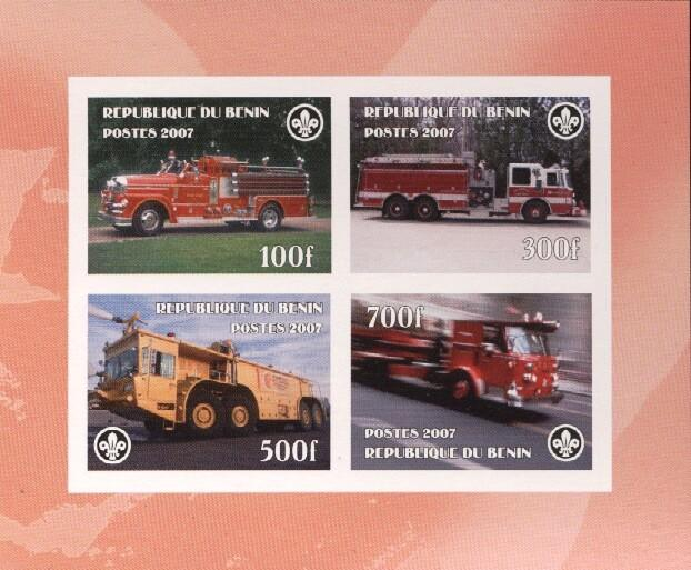 Stamps with Firefighters / engines, Scouting from Benin (non official) (image for product #036173)