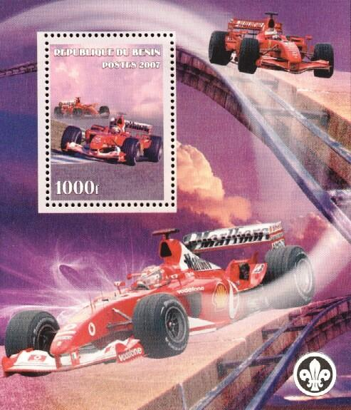 Stamps with Scouting, Bridge, Ferrari, Racing Cars from Benin (non official) (image for product #036178)