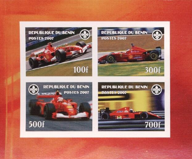 Stamps with Ferrari, Racing Cars, Scouting from Benin (non official) (image for product #036179)