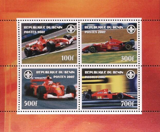 Stamps with Ferrari, Racing Cars, Scouting from Benin (non official) (image for product #036180)
