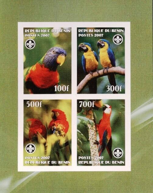 Stamps with Bird, Scouting, Parrot from Benin (non official) (image for product #036201)