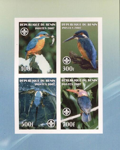 Stamps with Bird, Scouting, Kingfisher from Benin (non official) (image for product #036217)