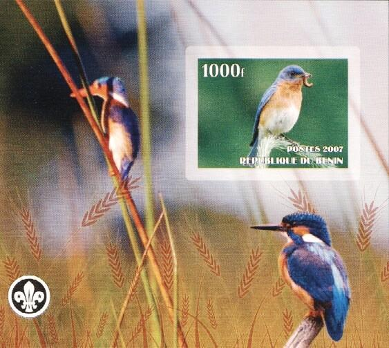 Stamps with Bird, Kingfisher, Scouting from Benin (non official) (image for product #036219)