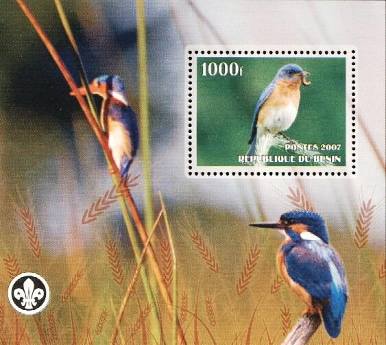 Stamps with Bird, Scouting, Kingfisher from Benin (non official) (image for product #036220)
