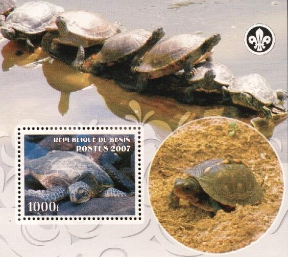 Stamps with Scouting, Turtle from Benin (non official) (image for product #036224)