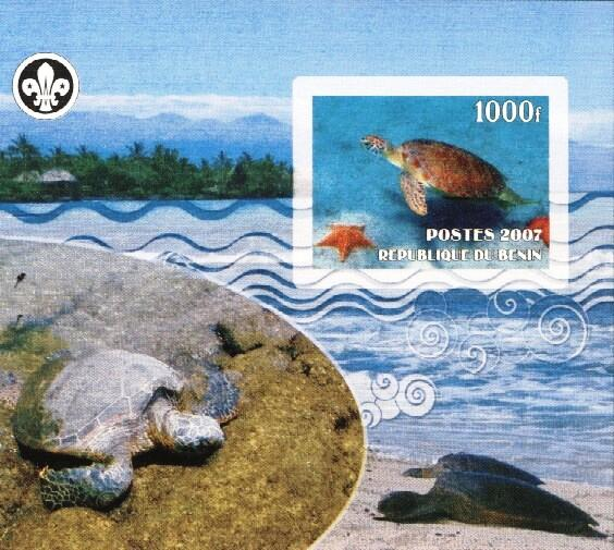Stamps with Scouting, Turtle from Benin (non official) (image for product #036225)
