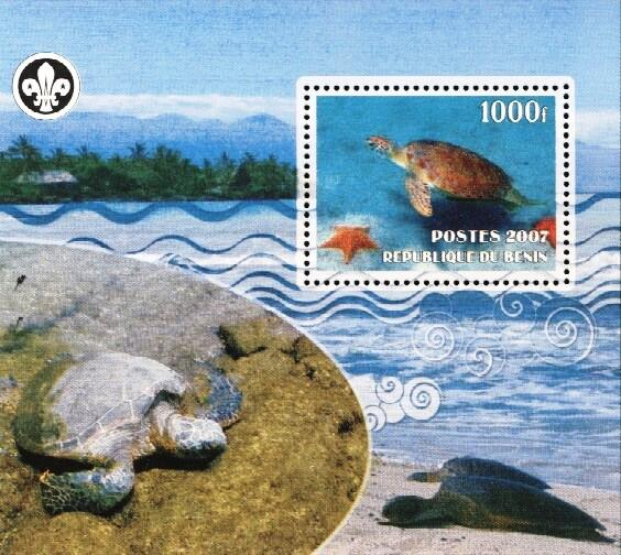 Stamps with Scouting, Turtle from Benin (non official) (image for product #036226)