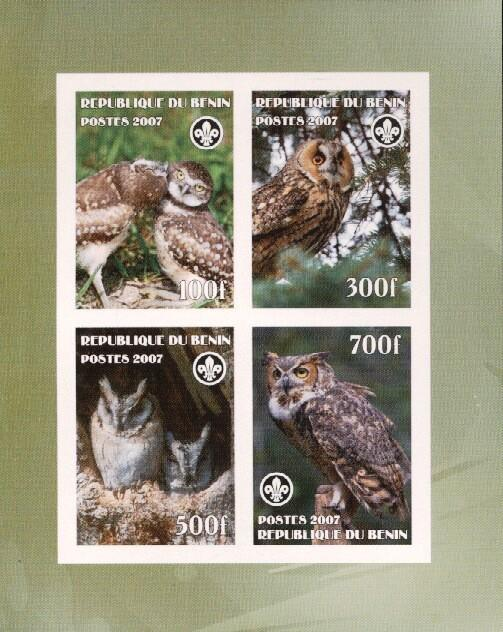 Stamps with Bird, Scouting, Owl from Benin (non official) (image for product #036233)