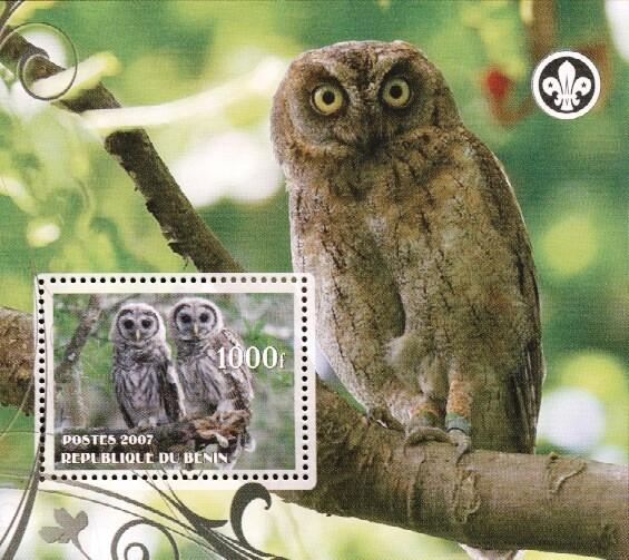 Stamps with Bird, Owl, Scouting from Benin (non official) (image for product #036236)