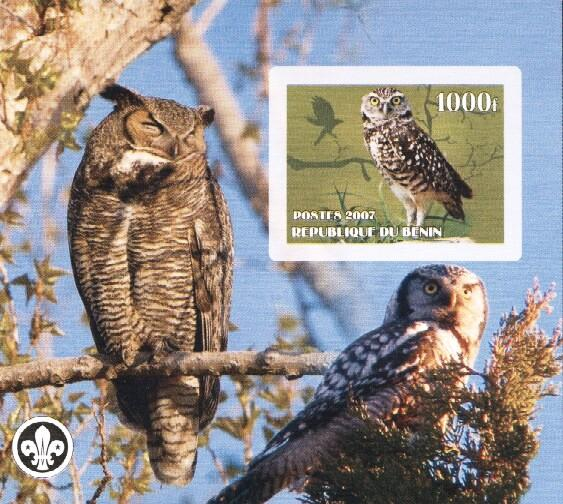 Stamps with Bird, Owl, Scouting from Benin (non official) (image for product #036237)
