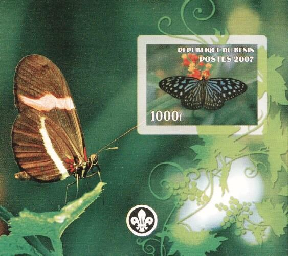Stamps with Butterflies, Scouting from Benin (non official) (image for product #036239)
