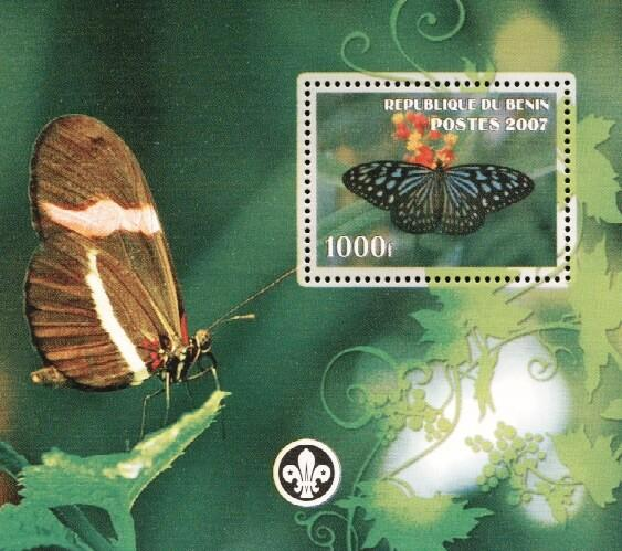 Stamps with Butterflies, Scouting from Benin (non official) (image for product #036240)