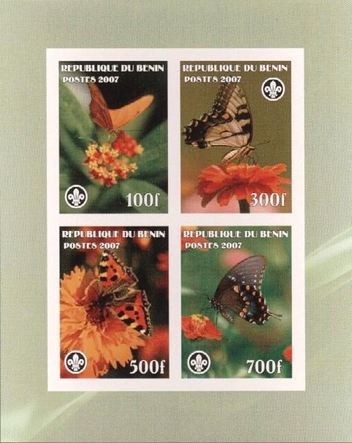 Stamps with Butterflies, Scouting from Benin (non official) (image for product #036241)