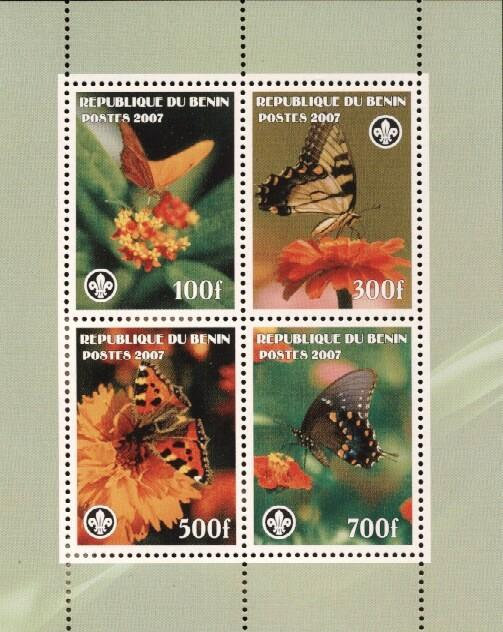 Stamps with Butterflies, Scouting from Benin (non official) (image for product #036242)