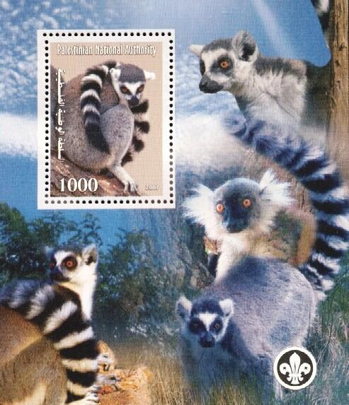 Stamps with Lemur, Scouting from Palestinian Auth. (non official) (image for product #036250)