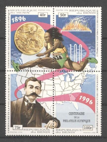 Stamps with Olympic Games, Map, Coubertin from Benin (image for product #036449)