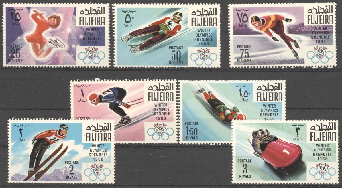 Stamps with Figure Skating, Olympic Games, Bobsleigh from Fujeira (image for product #036482)