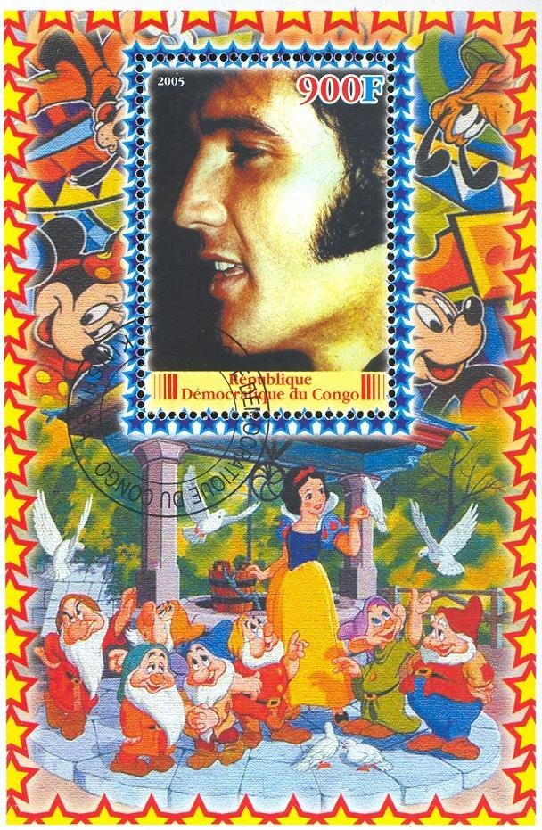 Stamps with Cartoon, Elvis Presley from Congo (non official) (image for product #036644)