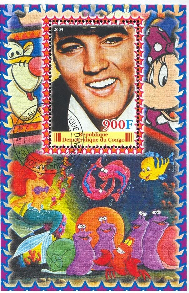 Stamps with Train / Railway, Cartoon, Elvis Presley from Congo (non official) (image for product #036647)