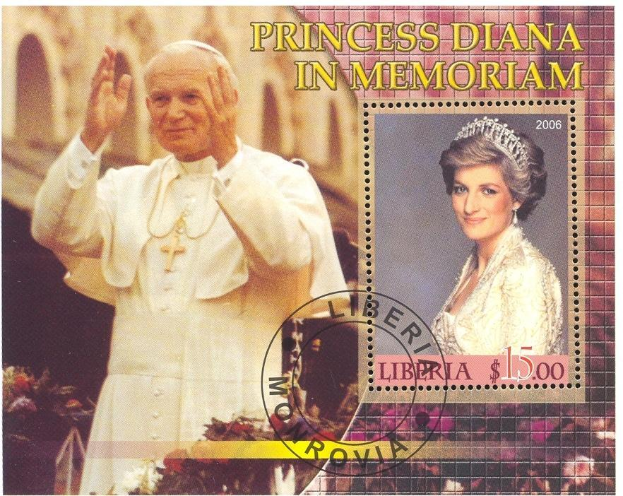 Stamps with Pope, Diana from Liberia (image for product #036654)