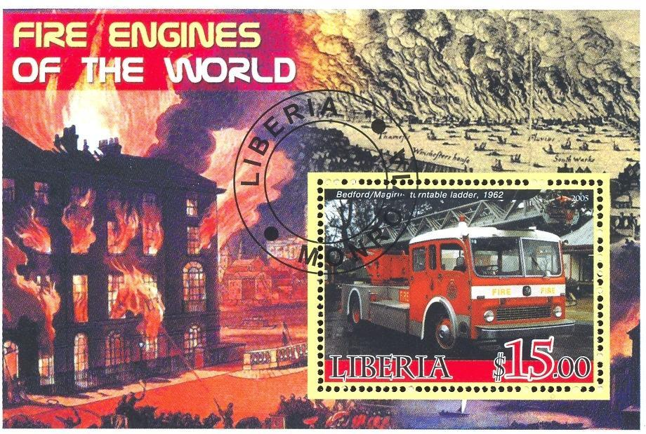 Stamps with Firefighters / engines from Liberia (non official) (image for product #036666)