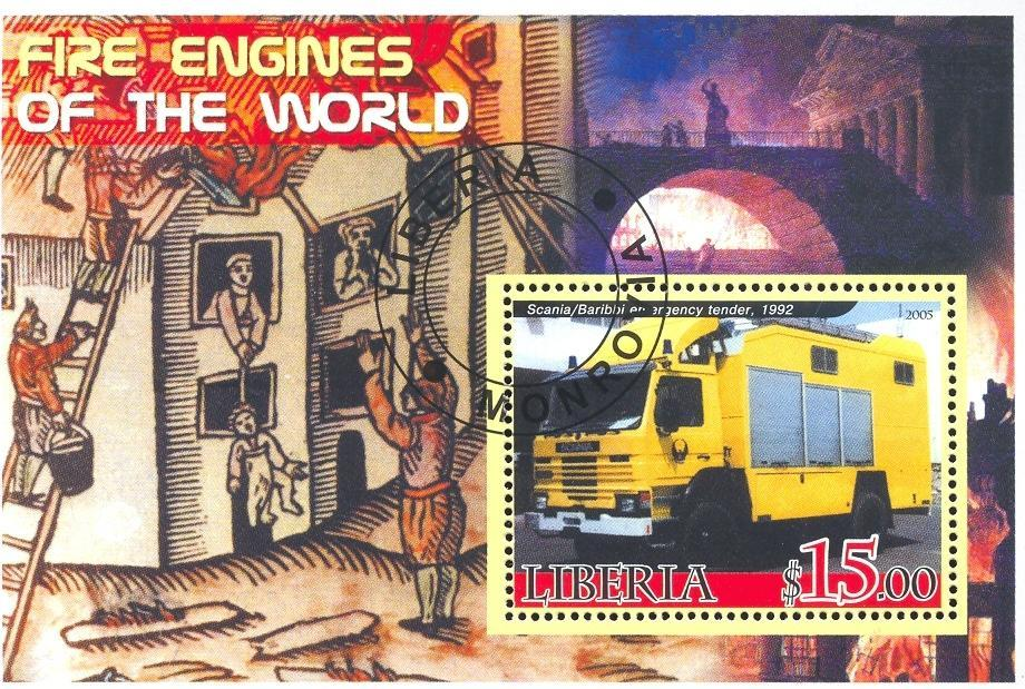 Stamps with Firefighters / engines from Liberia (non official) (image for product #036667)