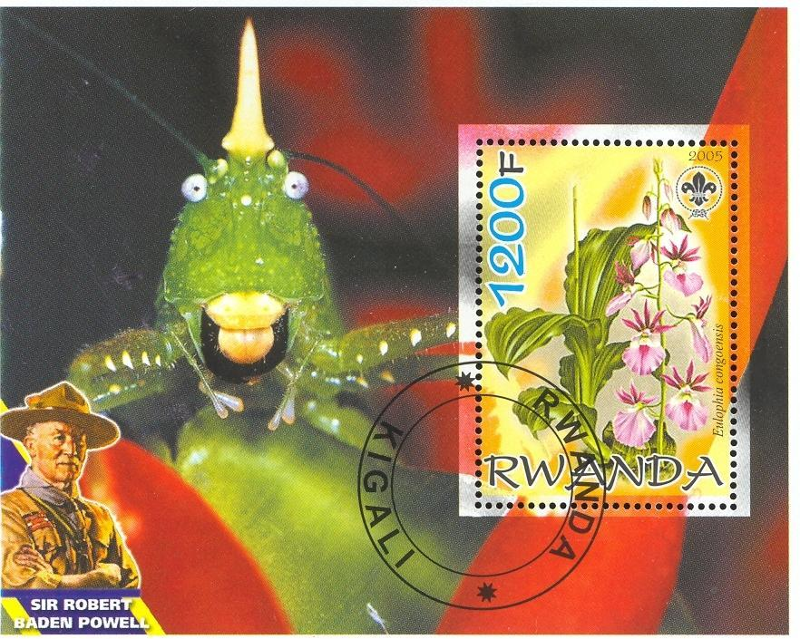 Stamps with Fish, Scouting, Orchids, Bonsai, Baden Powell from Rwanda (non official) (image for product #036669)